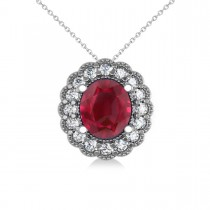 Ruby & Diamond Floral Oval Pendant Necklace 14k White Gold (2.98ct)