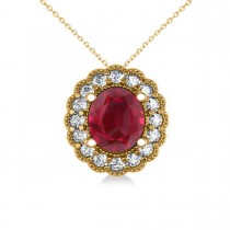 Ruby & Diamond Floral Oval Pendant Necklace 14k Yellow Gold (2.98ct)