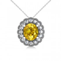 Yellow Sapphire & Diamond Floral Oval Pendant Necklace 14k White Gold (2.98ct)