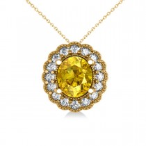 Yellow Sapphire & Diamond Floral Oval Pendant Necklace 14k Yellow Gold (2.98ct)