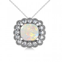 Opal & Diamond Floral Cushion Pendant Necklace 14k White Gold (1.68ct)