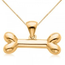 Dog Bone Pendant Necklace in Plain Metal 14k Yellow Gold