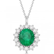 Oval Emerald and Diamond Pendant Necklace 14k White Gold (5.40ctw)