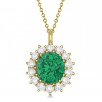 Oval Emerald and Diamond Pendant Necklace 18K Yellow Gold (5.40ctw)