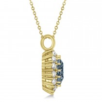 Oval Gray Spinel and Diamond Pendant Necklace 18K Yellow Gold (5.40ctw)