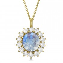 Oval Moonstone and Diamond Pendant Necklace 18K Yellow Gold (5.40ctw)