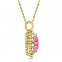 Oval Pink Tourmaline and Diamond Pendant Necklace 18K Yellow Gold (5.40ctw)