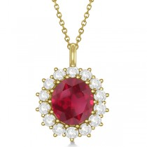 Oval Ruby and Diamond Pendant Necklace 14k Yellow Gold (5.40ctw)