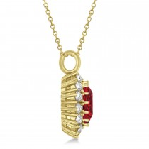 Oval Ruby and Diamond Pendant Necklace 18K Yellow Gold (5.40ctw)