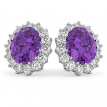 Oval Amethyst & Diamond Accented Earrings 14k White Gold (10.80ctw)