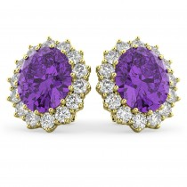 Oval Amethyst & Diamond Accented Earrings 14k Yellow Gold (10.80ctw)