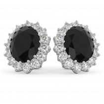 Oval Black Diamond & Diamond Accented Earrings 14k White Gold (10.80ctw)
