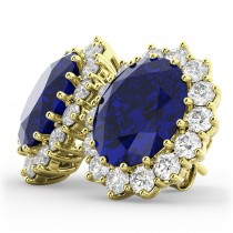 Oval Blue Sapphire & Diamond Accented Earrings 18k Yellow Gold (10.80ctw)
