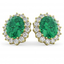 Oval Emerald and Diamond Earrings 14k Yellow Gold (10.80ctw)