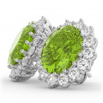 Oval Peridot & Diamond Accented Earrings 14k White Gold (10.80ctw)