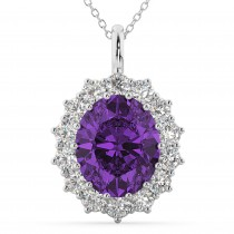 Oval Amethyst and Diamond Halo Pendant Necklace 14k White Gold (6.40ct)