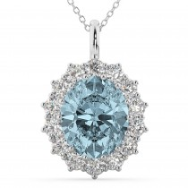 Oval Aquamarine and Diamond Halo Pendant Necklace 14k White Gold (6.40ct)