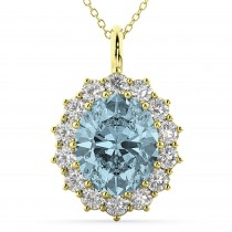 Oval Aquamarine and Diamond Halo Pendant Necklace 14k Yellow Gold (6.40ct)