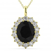 Oval Black Diamond and Diamond Halo Pendant Necklace 14k Yellow Gold (6.40ct)