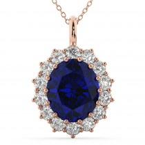 Oval Blue Sapphire and Diamond Halo Pendant Necklace 14k Rose Gold (6.40ct)