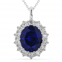 Oval Blue Sapphire and Diamond Halo Pendant Necklace 14k White Gold (6.40ct)