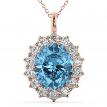 Oval Blue Topaz and Diamond Halo Pendant Necklace 14k Rose Gold (6.40ct)