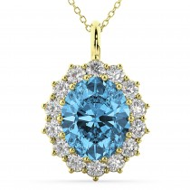 Oval Blue Topaz and Diamond Halo Pendant Necklace 14k Yellow Gold (6.40ct)