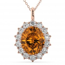Oval Citrine and Diamond Halo Pendant Necklace 14k Rose Gold (6.40ct)
