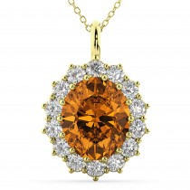 Oval Citrine and Diamond Halo Pendant Necklace 14k Yellow Gold (6.40ct)
