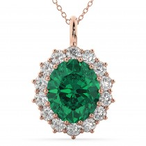 Oval Emerald and Diamond Halo Pendant Necklace 14k Rose Gold (6.40ct)