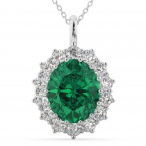 Oval Emerald and Diamond Halo Pendant Necklace 14k White Gold (6.40ct)