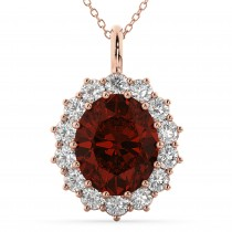 Oval Garnet and Diamond Halo Pendant Necklace 14k Rose Gold (6.40ct)