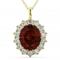 Oval Garnet and Diamond Halo Pendant Necklace 14k Yellow Gold (6.40ct)