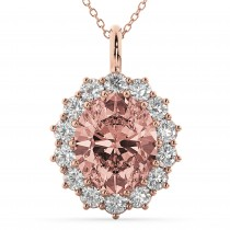 Oval Morganite and Diamond Halo Pendant Necklace 14k Rose Gold (6.40ct)