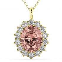 Oval Morganite and Diamond Halo Pendant Necklace 14k Yellow Gold (6.40ct)