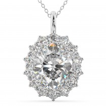 Oval Moissanite and Diamond Halo Pendant Necklace 14k White Gold (6.40ct)