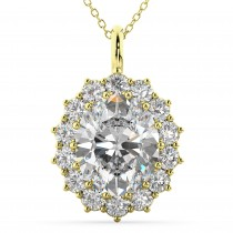 Oval Moissanite and Diamond Halo Pendant Necklace 14k Yellow Gold (6.40ct)