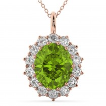 Oval Peridot and Diamond Halo Pendant Necklace 14k Rose Gold (6.40ct)