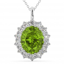 Oval Peridot and Diamond Halo Pendant Necklace 14k White Gold (6.40ct)