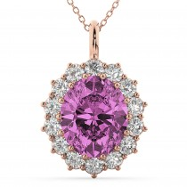 Oval Pink Sapphire and Diamond Halo Pendant Necklace 14k Rose Gold (6.40ct)