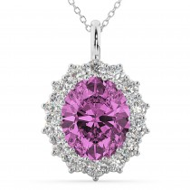 Oval Pink Sapphire and Diamond Halo Pendant Necklace 14k White Gold (6.40ct)