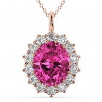 Oval Pink Tourmaline and Diamond Halo Pendant Necklace 14k Rose Gold (6.40ct)