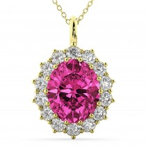 Oval Pink Tourmaline and Diamond Halo Pendant Necklace 14k Yellow Gold (6.40ct)