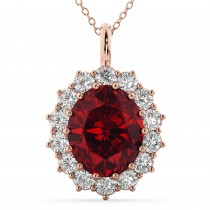 Oval Ruby and Diamond Halo Pendant Necklace 14k Rose Gold (6.40ct)