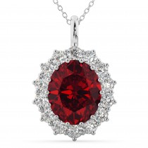 Oval Ruby and Diamond Halo Pendant Necklace 14k White Gold (6.40ct)
