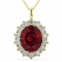 Oval Ruby and Diamond Halo Pendant Necklace 14k Yellow Gold (6.40ct)