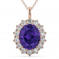 Oval Tanzanite and Diamond Halo Pendant Necklace 14k Rose Gold (6.40ct)