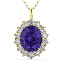 Oval Tanzanite and Diamond Halo Pendant Necklace 14k Yellow Gold (6.40ct)