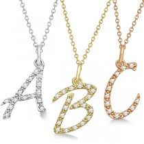 Personalized Diamond Script Letter Initial Necklace in 14k White Gold