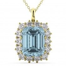 Emerald Cut Aquamarine and Diamond Pendant 14k Yellow Gold (5.68ct)